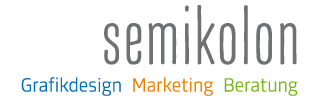 Logo semikolon Marketing + Kommunikation